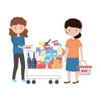mujeres de compras con carro y cesta de diseño vectorial