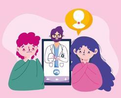 avatar de hombre mujer con diseño vectorial médico y teléfono inteligente