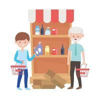 Viejo y niño enviando con cestas diseño vectorial