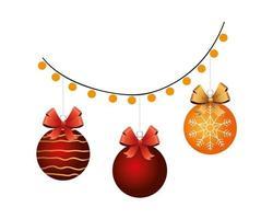 happy merry christmas balls in lights bulbs