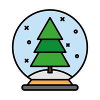 feliz feliz navidad pino en línea de bola e icono de estilo de relleno
