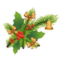 christmas decorative leafs with golden bells and ribbons vector