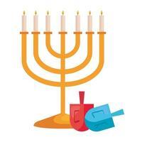 hanukkah chandelier golden with dreidels vector