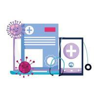 Smartphone laptop stethoscope and Covid 19 virus vector design