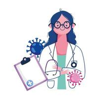 Woman doctor document and covid 19 virus vector design
