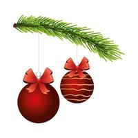 happy merry christmas red balls in pine branch vector