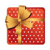 merry christmas red gift box with golden ribbon