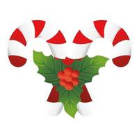 christmas decorative leafs with canes vector