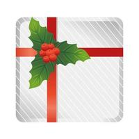 merry christmas gift box with floral decoration and red ribbon vector