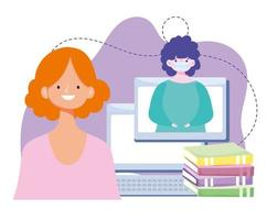 online training, teacher and student computer books lesson, courses knowledge development using internet vector