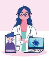 Doctora con smartphone portátil y hombre con tos seca diseño vectorial