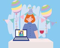 online party, birthday or meeting friends, woman with hat decoration balloons laptop girl in screen vector