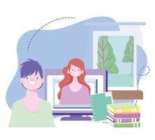 online training, teacher explaining lesson computer books, courses knowledge development using internet vector