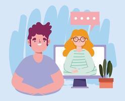fiesta en línea, cumpleaños o reunión de amigos, conversación remota hombre y mujer con computadora