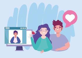 Fiesta en línea, cumpleaños o reunión de amigos, pareja con copa de vino hablando con el hombre en la computadora