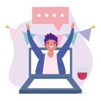 Fiesta en línea, cumpleaños o reunión de amigos, hombre con copa de vino en celebración portátil