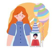 fiesta en línea, cumpleaños o reunión de amigos, personas con globos y gorro de celebración de teléfonos inteligentes