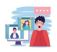 Fiesta en línea, cumpleaños o reunión de amigos, chico hablando con hombre y mujer en la computadora del sitio web