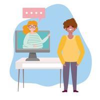 fiesta en línea, cumpleaños o reunión de amigos, hombre hablando mujer en computadora de video