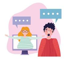 fiesta en línea, cumpleaños o reunión de amigos, mujer y hombre hablando a distancia por computadora
