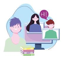 online training, students computer and books homework, courses knowledge development using internet vector