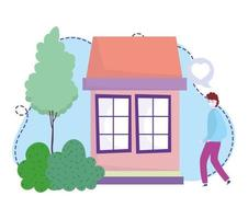 young man with protective mask house stay at home coronavirus covid 19 vector