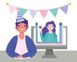 fiesta en línea, cumpleaños o reunión de amigos, hombre y mujer hablando celebración de video computadora