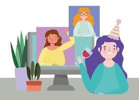 fiesta en línea, cumpleaños o reunión de amigos, mujeres jóvenes celebrando con una copa de vino y una computadora