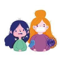 covid 19 coronavirus pandemic, sick girls with mask prevent vector