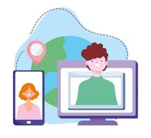 online training, people smartphone computer connection, courses knowledge development using internet vector