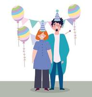 fiesta en línea, cumpleaños o reunión de amigos, hombre y mujer con sombreros celebración de globos y banderines vector