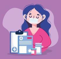 Mujer con máscara de documentos y frascos de medicina diseño vectorial