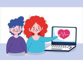 mujer hombre con laptop y pulso de corazón diseño vectorial