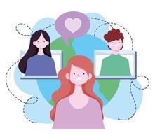 capacitación en línea, sitio web de estudiantes conectados por maestros, desarrollo de conocimientos de cursos a través de Internet vector