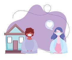 man and woman with medical masks talking home, coronavirus covid 19 vector