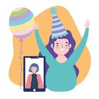 fiesta en línea, cumpleaños o reunión de amigos, celebrando a las niñas con el teléfono inteligente conectado