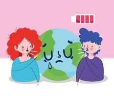 Woman man avatar with dry cough world and battery vector design