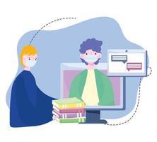 capacitación en línea, personas con máscaras computadora con libros hablando, cursos de desarrollo de conocimiento usando internet
