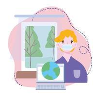 capacitación en línea, quedarse en casa, hombre con máscara, conexión al mundo portátil, cursos de desarrollo de conocimientos mediante internet vector