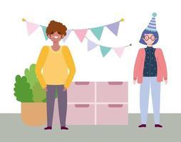 fiesta en línea, cumpleaños o reunión de amigos, hombre y mujer en casa sombrero banderines decoración festiva vector