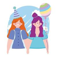 online party, birthday or meeting friends, two girls with hat balloon decoration celebration vector