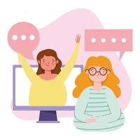 fiesta en línea, cumpleaños o reunión de amigos, mujeres jóvenes hablando por computadora conversación virtual vector