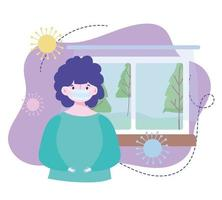 young character with medical mask in the home, prevention quarantine covid 19 vector