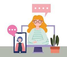 fiesta en línea, cumpleaños o reunión de amigos, mujeres en pantalla de computadora y teléfono inteligente distanciamiento social