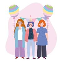 birthday or meeting friends, group women with hat balloon bunting decoration celebration vector