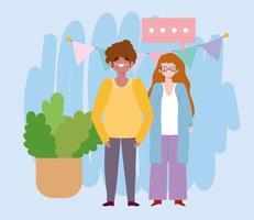 cumpleaños o reunión de amigos, hombre y mujer con banderines decoración y celebración vector