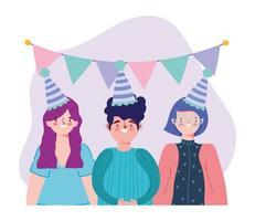 cumpleaños o reunión de amigos, hombres y mujeres jóvenes con sombrero copa de vino y banderines decoración celebración vector