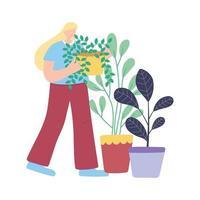 Mujer joven con plantas en macetas decoración de jardinería icono aislado fondo blanco.