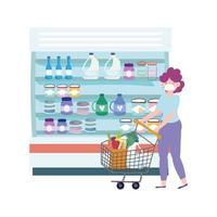 online market, woman with shopping cart supermarket, food delivery in grocery store vector