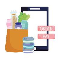 mercado en línea, botón de pago de pedido de bolsa de papel para teléfono inteligente, entrega de alimentos en la tienda de comestibles vector